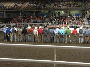 Riders at the Canadian National College Finals Rodeo. April 2012.