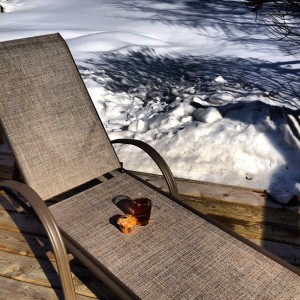 Sunning on my deck in March, 2013.